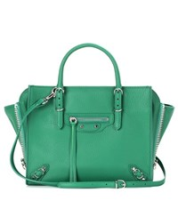 Balenciaga Mini Papier A4 Zip Around Leather Shoulder Bag Green