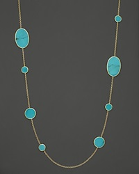 Ippolita 18K Yellow Gold Polished Rock Candy Circle Oval Station Necklace In Turquoise