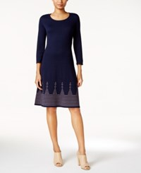 Nine West Fit And Flare Sweater Dress Indigo