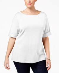 Karen Scott Plus Size Cuffed T Shirt Only At Macy's Bright White