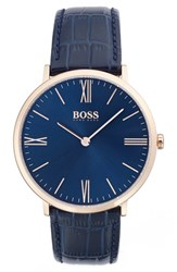 Men's Boss Leather Strap Watch 40Mm Navy Navy