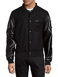 Members Only Patched Button Front Varsity Jacket Black