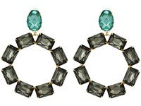 Tory Burch Stone Wreath Statement Drop Earrings Denim Blue Smoke Vintage Gold Earring
