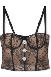 Alessandra Rich Crystal Embellished Lace Bustier Top Black