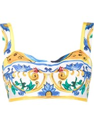 Dolce And Gabbana Majolica Print Bralet Top White