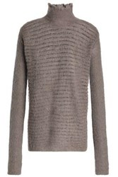 Rick Owens Ribbed Knit Turtleneck Sweater Taupe