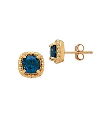 Lord And Taylor London Blue Topaz 14K Yellow Gold Earrings Green