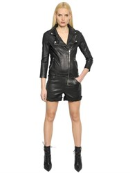 Rta Stretch Leather Biker Jumpsuit