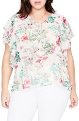 Rachel Roy Plus Size Women's Flutter Sleeve Floral Top Almond Milk Combo