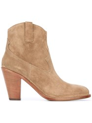 Saint Laurent Curtis 80 Western Ankle Boots Nude Neutrals