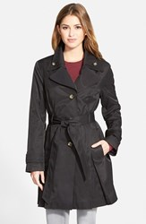 Petite Women's London Fog Double Collar Belted Trench Coat