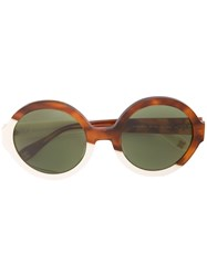 Carolina Herrera Round Frame Sunglasses Brown