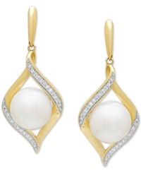 Honora Style Cultured Freshwater Pearl 8 Mm And Diamond 1 10 Ct. T.W. Drop Earrings In 14K Gold White