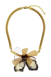 Topshop Flower Perspex And Stone Necklace Green