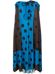Ter Et Bantine Colour Block Polka Dot Print Dress Blue
