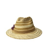 San Diego Hat Company Pbf7320os Fedora W Paper Pattern And Triple Poms Natural Caps Beige