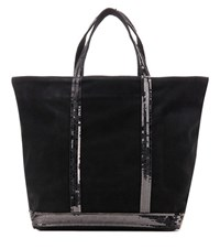 Vanessa Bruno Cabas Medium Embellished Suede Shopper Black