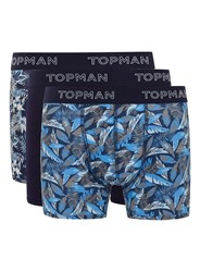 Topman Blue Navy Floral Hawaiian 3 Pack Trunks