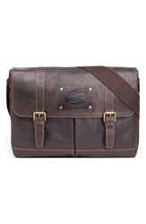 Men's Jack Mason Brand 'Gridiron Nc State Wolfpack' Leather Messenger Bag Brown