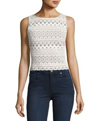 Kensie Geometric Knit Cropped Tank Multi