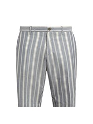 J.W.Brine Striped Cotton Shorts Blue White