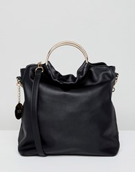 Faith Slouch Tote Bag With Circle Handle Black