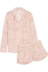 Stella Mccartney Poppy Snoozing Printed Stretch Silk Pajama Set Pink