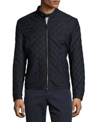 Luciano Barbera Quilted Motorcycle Jacket Navy