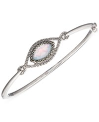 Judith Jack Frosted Dreams Sterling Silver Pave Blue Opal Marcasite Bangle Bracelet