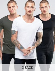 Asos 3 Pack Longline Muscle T Shirt With Scoop Neck In White Black Green Multi
