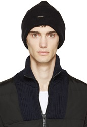 Dsquared Black Slouchy Wool Beanie