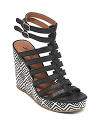 Lucky Brand Espadrille Sandals Labelle Patterned Gladiator Black White