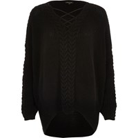 River Island Womens Black Cable Knit Lace Up Front Jumper