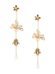 Alberta Ferretti Flower Embellished Drop Earrings Gold