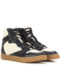 Balenciaga Leather And Fabric High Top Sneakers Beige