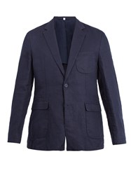 Orlebar Brown Edgar Notch Lapel Linen Blazer Navy