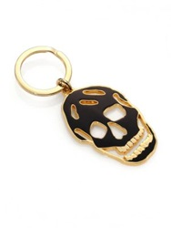 Alexander Mcqueen Cutout Enamel Skull Key Ring White Black