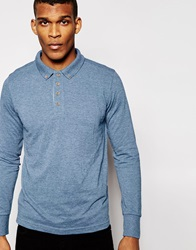 Brave Soul Long Sleeve Polo Shirt Blue