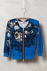 Tracy Reese Delphinium Cropped Cardigan Blue Motif