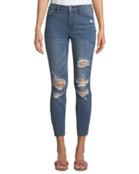 Kendall Kylie The Push Up Distressed Ripped Cropped Skinny Jeans Blue