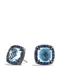 David Yurman Earrings With Blue Topaz And Blue Sapphire Blue Silver