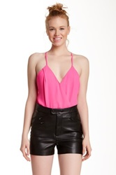 Jealous Tomato Sleeveless Surplice Neck Bodysuit Blouse Pink