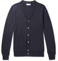 Brunello Cucinelli Contrast Tipped Cotton Cardigan Navy