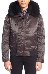 Men's Theory 'Leonaard Sf' Toggle Jacket With Genuine Coyote Fur Trim
