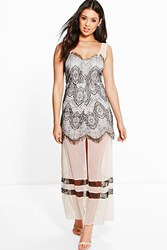 Boohoo Gill Lace And Mesh Panelled Maxi Dress Black