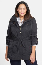Plus Size Women's Ellen Tracy Short Techno Trench Coat Black