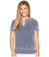 Allen Allen Split Neck Crew Lapis Women's Clothing Navy