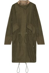 3.1 Phillip Lim Oversized Satin Trimmed Broderie Anglaise Cotton Parka Army Green