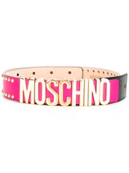 Moschino Logo Belt Pink Purple