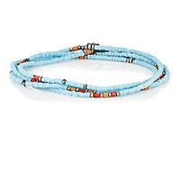 M Cohen M. Men's Wrap Bracelet And Beaded Necklace Blue